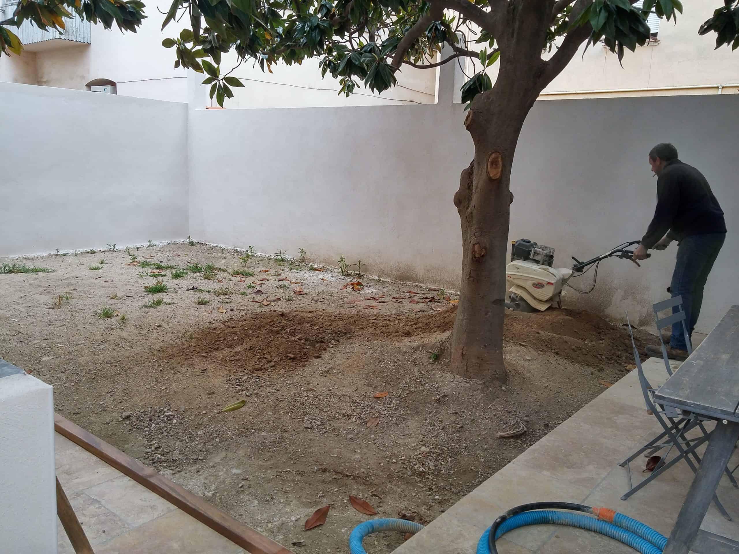 Preparation chantier arnaudies paysagiste